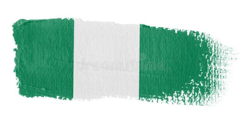 De Vlag Nigeria van de penseelstreek royalty-vrije illustratie