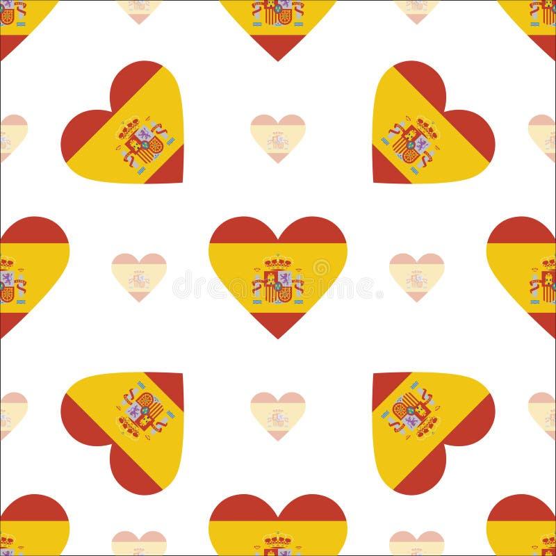 De vlag patriottisch naadloos patroon van Spanje stock illustratie