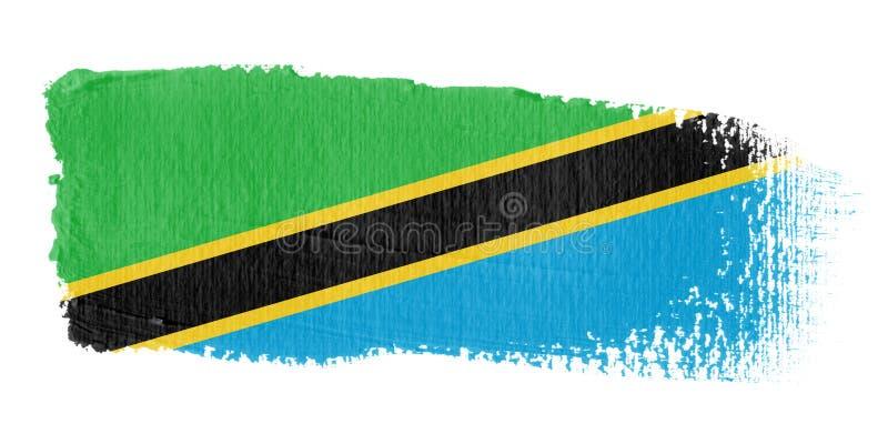 De Vlag Tanzania van de penseelstreek royalty-vrije illustratie
