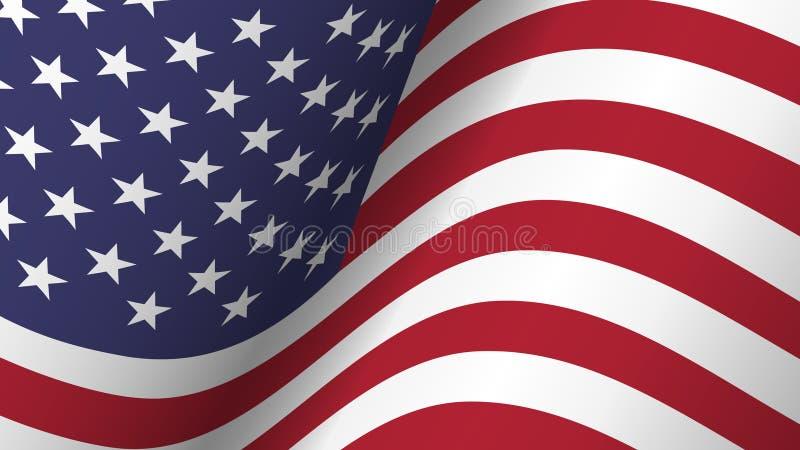 De vlag van achtergrond Amerika inzameling Het golven ontwerp Verhouding 16: 9 vierde van juli-het concept van de Onafhankelijkhe stock illustratie