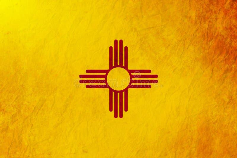De vlag van de achtergrond staat van New Mexico grunge textuur stock illustratie