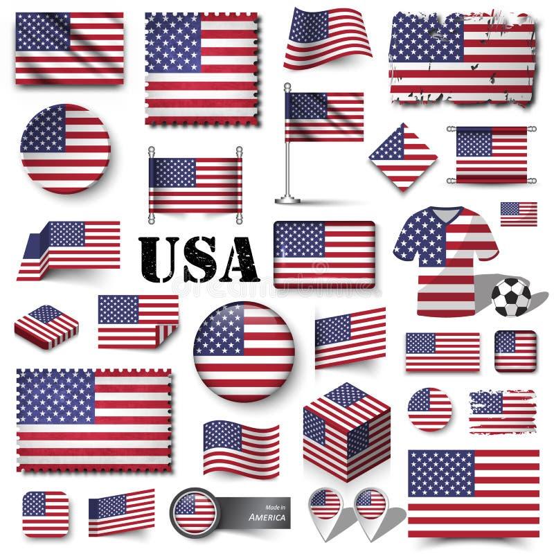De vlag van Amerika Reeks van diverse vector van het vormelement royalty-vrije illustratie