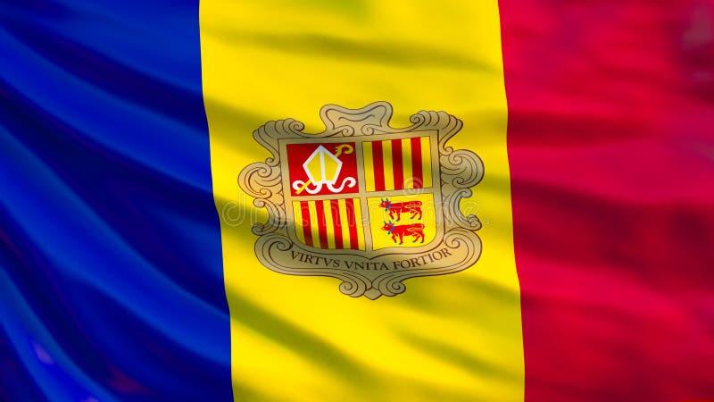 De vlag van Andorra Golvende vlag van 3d illustratie van Andorra stock illustratie