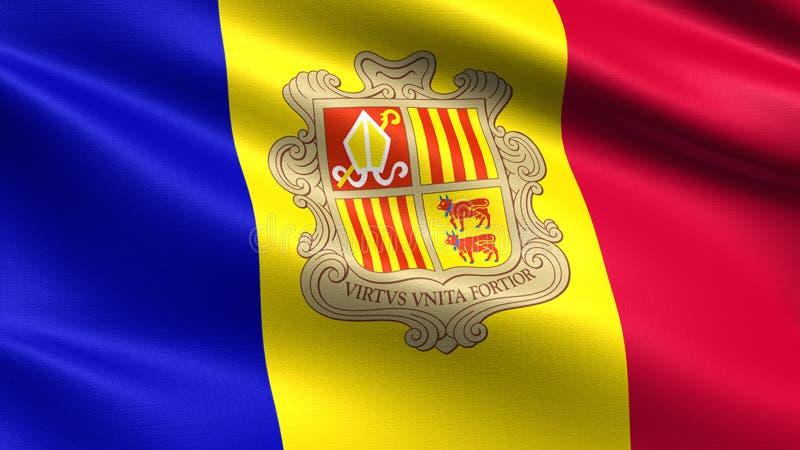 De vlag van Andorra, met het golven stoffentextuur stock afbeelding