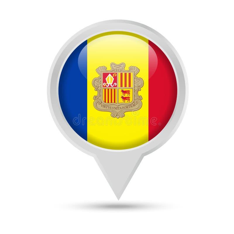 De Vlag van Andorra om Pin Vector Icon vector illustratie
