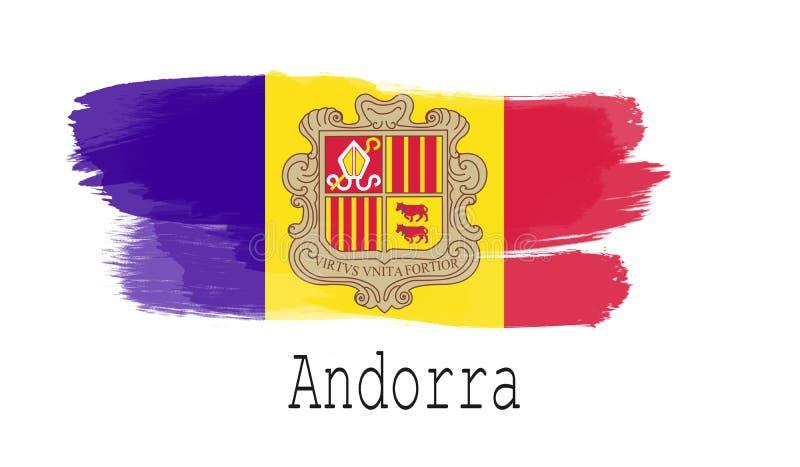 De vlag van Andorra op witte achtergrond stock illustratie