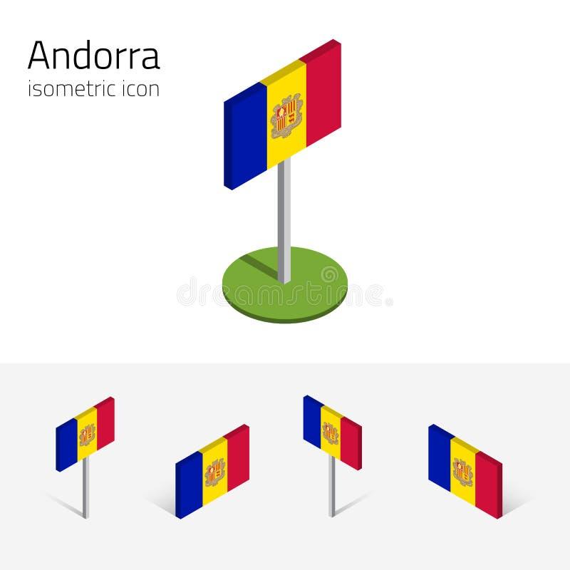 De vlag van Andorra, vectorreeks 3D isometrische pictogrammen royalty-vrije illustratie