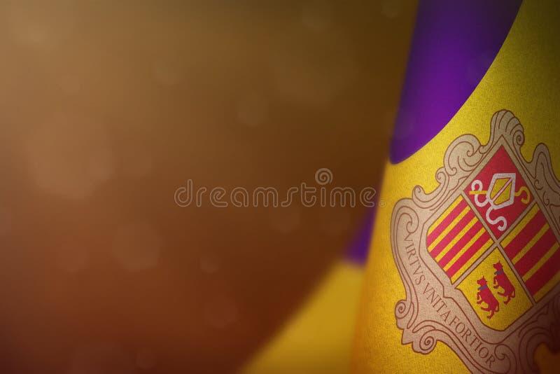 De vlag van Andorra voor eer van veteranendag of herdenkingsdag Glorie aan de helden van Andorra van oorlogsconcept op oranje don stock foto