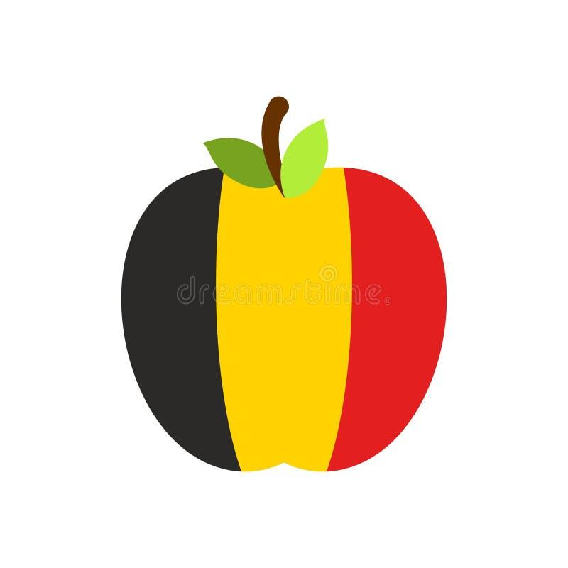 De vlag van Apple België Belgisch Nationaal Fruit Vector illustratie royalty-vrije illustratie