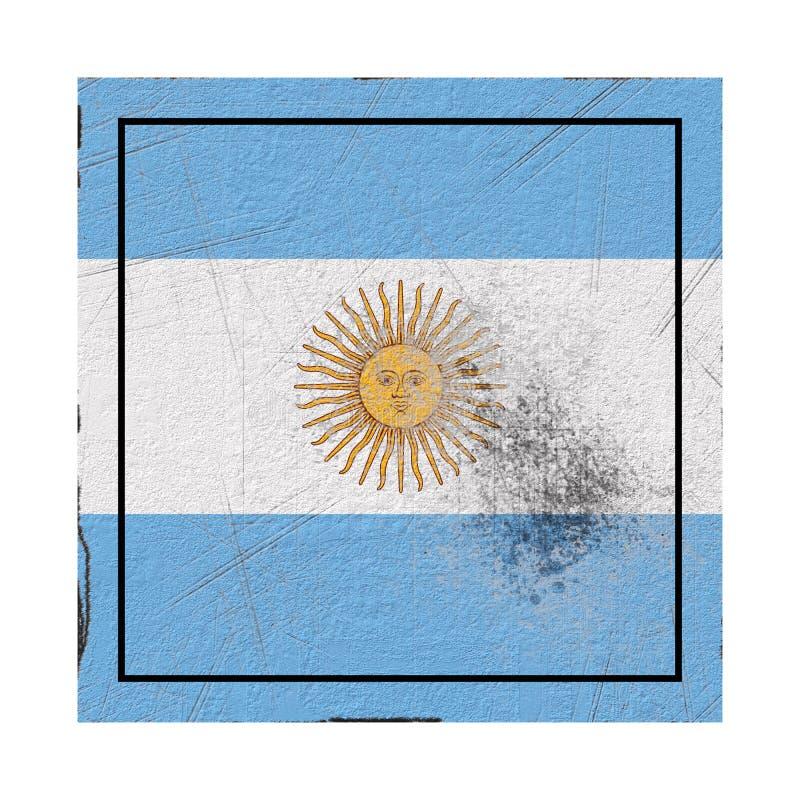 De vlag van Argentinië in concreet vierkant vector illustratie