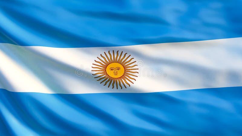 De Vlag van Argentinië Golvende vlag van 3d illustratie van Argentinië vector illustratie