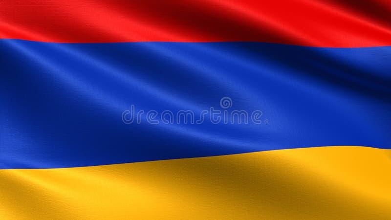De vlag van Armenië, met het golven stoffentextuur royalty-vrije stock afbeeldingen