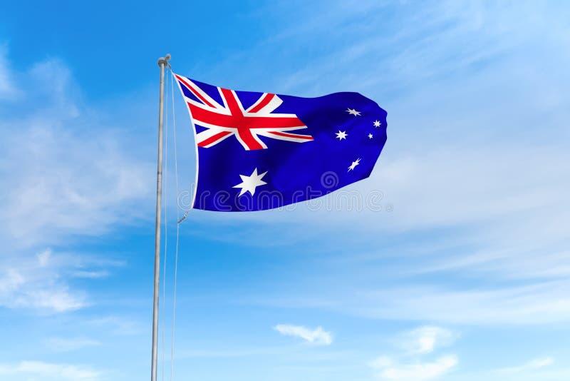 De vlag van Australië over blauwe hemelachtergrond royalty-vrije illustratie