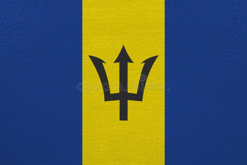 De vlag van Barbados op canvas stock foto's