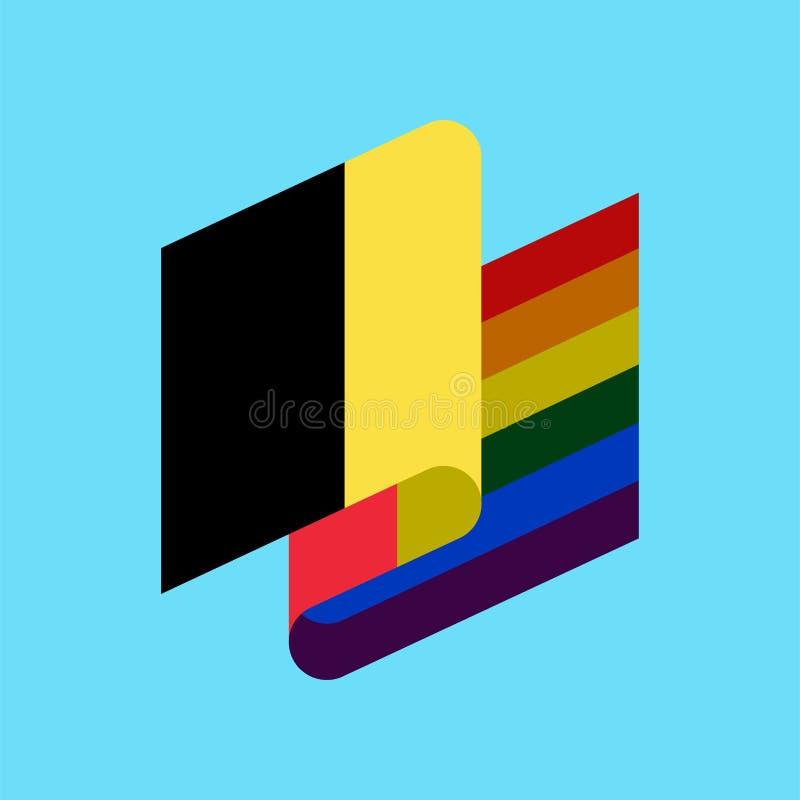 De vlag van België LGBT Belgisch Symbool van verdraagzaam Vrolijke tekenregenboog royalty-vrije illustratie