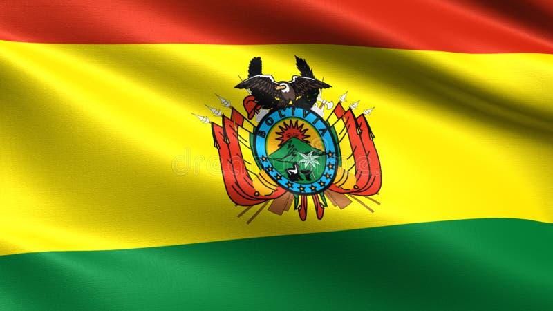 De vlag van Bolivië, met het golven stoffentextuur royalty-vrije stock afbeeldingen