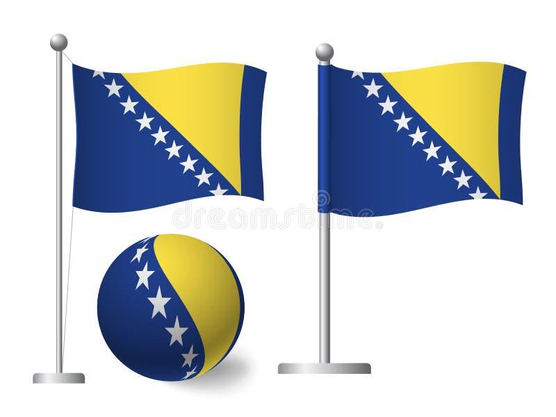 De vlag van Bosnië en Herzegovina op het pictogram van de pool en bal stock illustratie