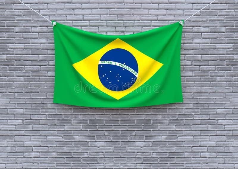 De vlag van Brazilië het hangen op bakstenen muur vector illustratie
