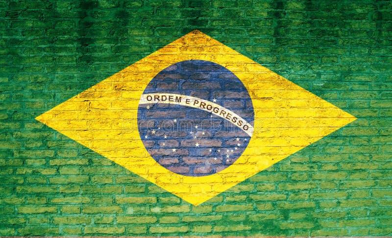 De vlag van Brazilië op een bakstenen muur wordt geschilderd die 3D Illustratie vector illustratie