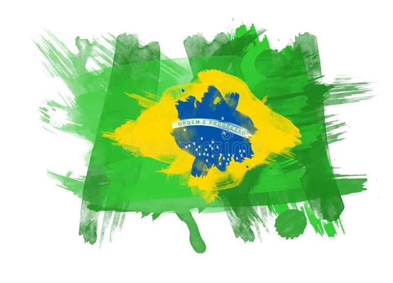 De Vlag van Brazilië op Witte Achtergrond vector illustratie