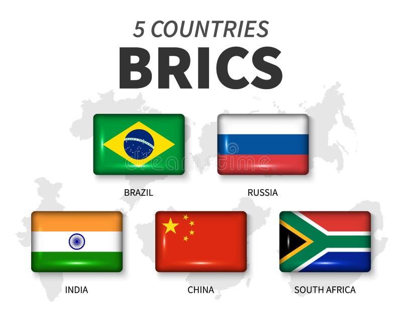 De vlag van BRICS en van het lidmaatschap vereniging van 5 landen De ronde glanzende knoop van de hoekrechthoek en de kaartachter royalty-vrije illustratie