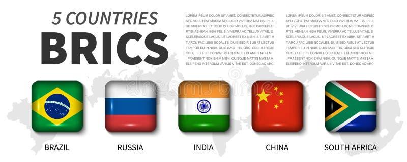 De vlag van BRICS en van het lidmaatschap vereniging van 5 landen Ronde hoek vierkante glanzende knoop en de kaartachtergrond van royalty-vrije illustratie