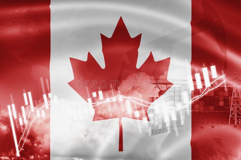 De vlag van Canada, effectenbeurs, uitwisselingseconomie en Handel, olieproductie, containerschip in de uitvoer en de invoerzaken vector illustratie