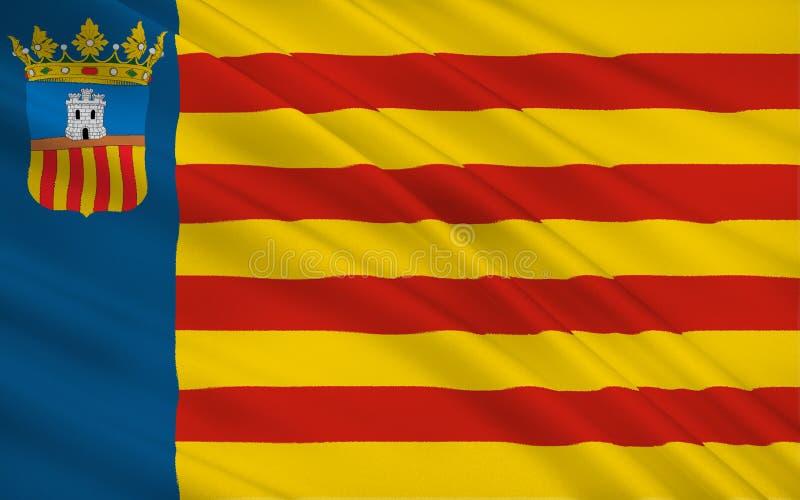 De vlag van Castello is provincie in de Valencian Gemeenschap, Spanje royalty-vrije illustratie