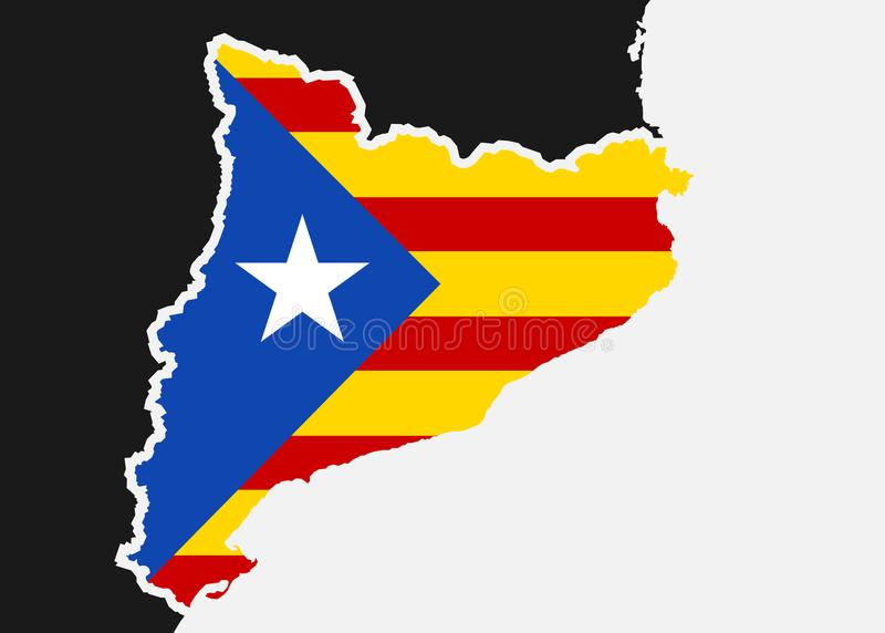 De vlag van Catalonië stock illustratie