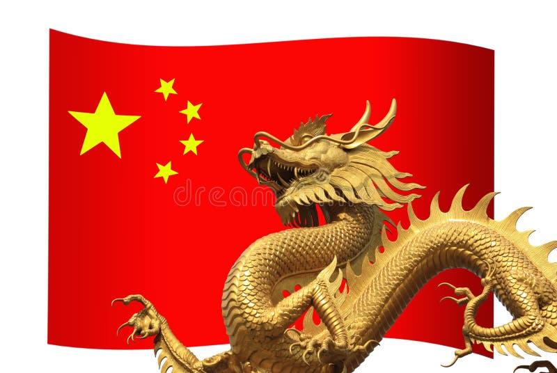De Vlag van China met gouden draak stock illustratie