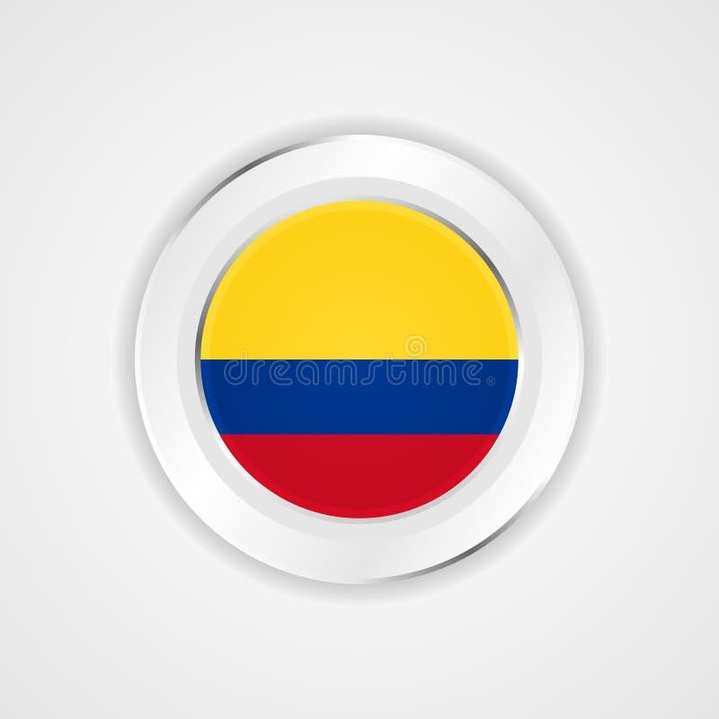De vlag van Colombia in glanzend pictogram royalty-vrije illustratie