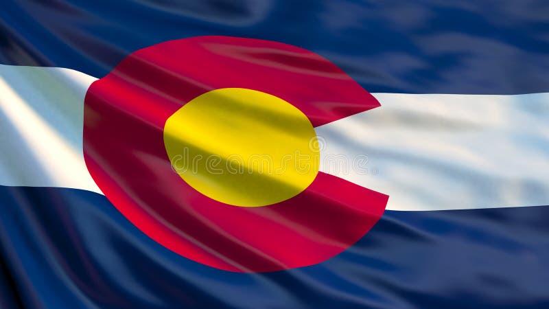 De vlag van Colorado Golvende vlag van de staat van Colorado, de Verenigde Staten van Amerika royalty-vrije illustratie