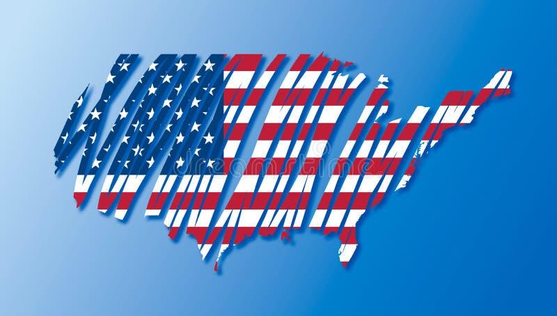 De vlag van de kaart van de getrokken V.S. royalty-vrije illustratie