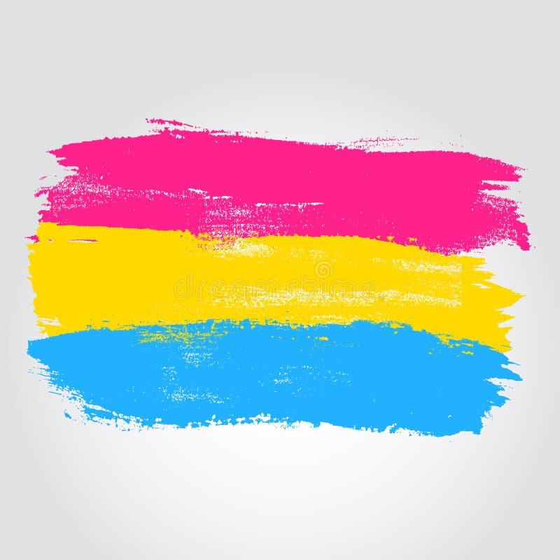 De vlag van de Pansexualtrots in een vorm van borstelslag vector illustratie