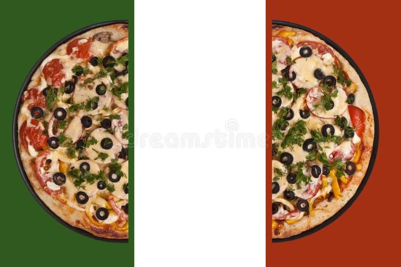 De vlag van de pizza stock afbeeldingen