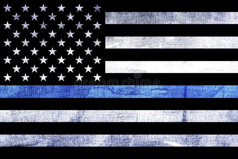 De Vlag van de politiesteun verdunt Blue Line royalty-vrije stock foto's