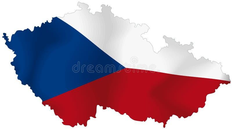 De vlag van de Tsjechische Republiek stock illustratie