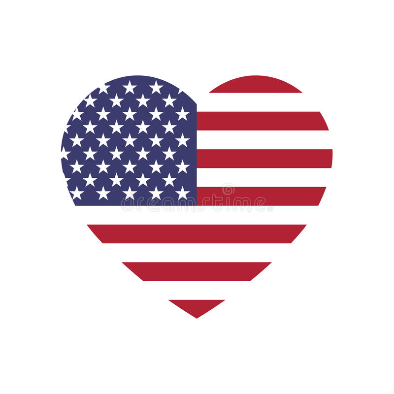 De vlag van de V.S. in een vorm van hart Patriottische nationale symblol van de Verenigde Staten van Amerika Eenvoudige vlakke ve vector illustratie