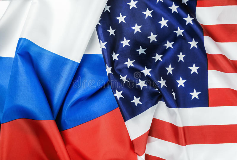 De vlag van de V.S. en de vlag van Rusland royalty-vrije stock fotografie