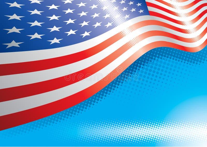 De Vlag van de V.S. en halftone gevolgen royalty-vrije illustratie