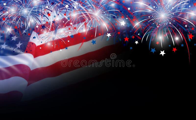 De vlag van de V.S. en vuurwerkachtergrond stock afbeeldingen