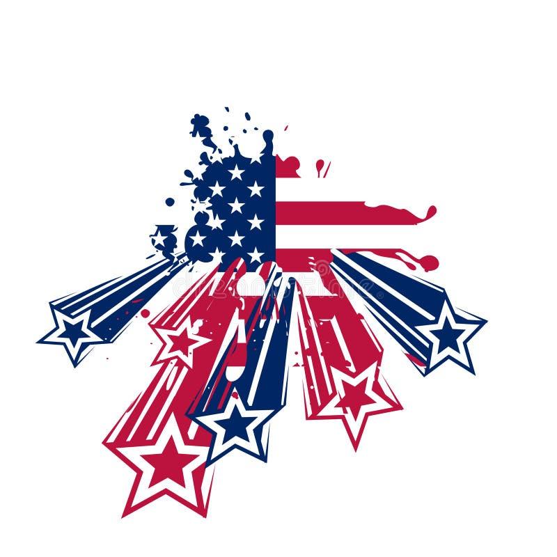 De vlag van de V.S. grunge met sterren royalty-vrije stock afbeelding