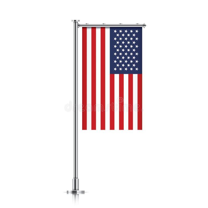 De vlag van de V.S. het hangen op een pool stock illustratie