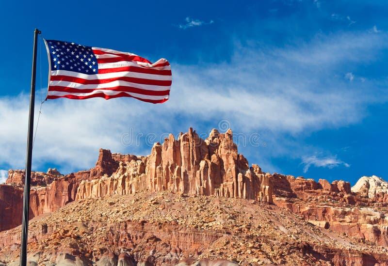 De vlag van de V.S. in het Hoofd Nationale Park van de Ertsader, de V.S. stock foto's