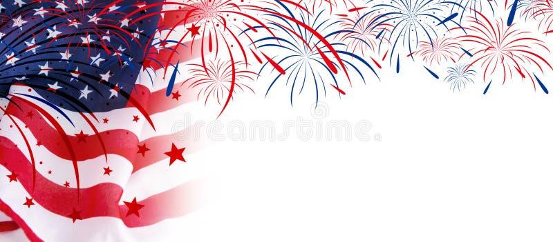 De vlag van de V.S. met vuurwerk op witte achtergrond