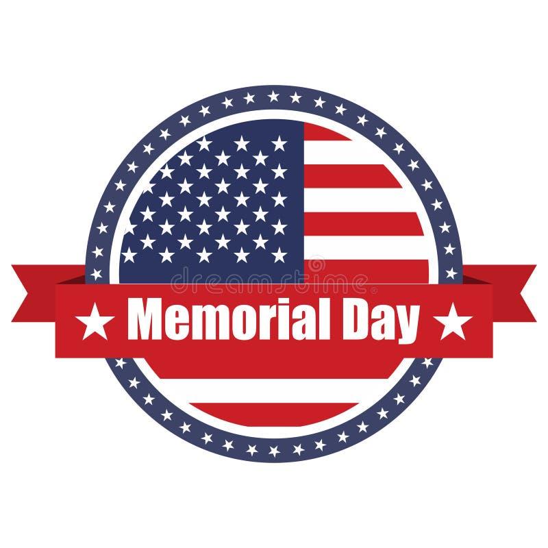 De vlag van de V.S. op knoopzegel met linten Memorial Day royalty-vrije illustratie