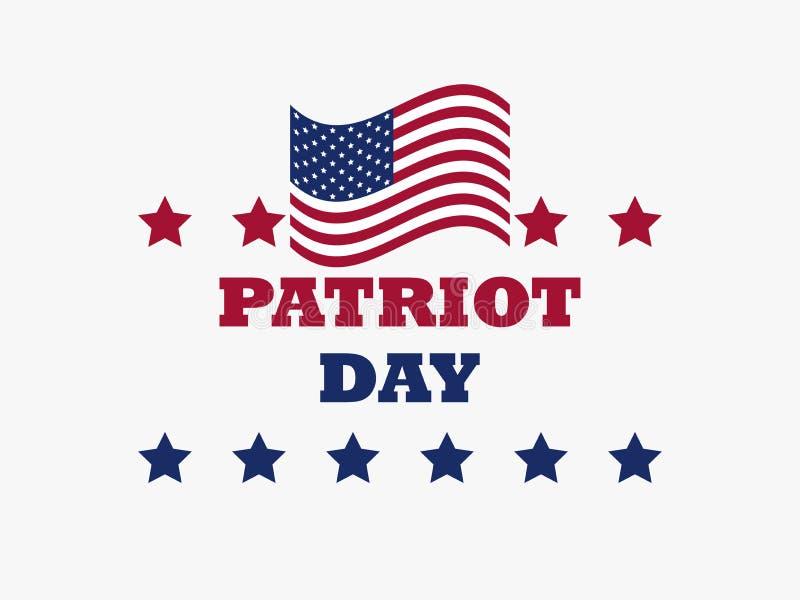 De vlag van de V.S. van de patriotdag op witte achtergrond Herdenkingsdag 9/11 Vector royalty-vrije illustratie