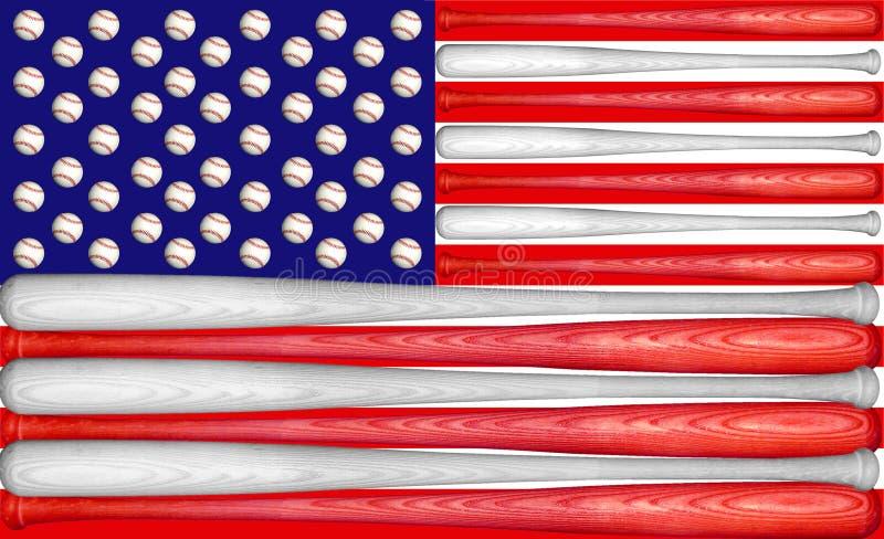 De Vlag van de V.S. van het honkbal stock afbeelding