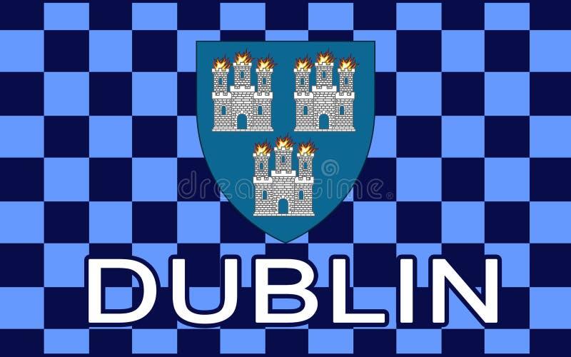 De vlag van Dublin is de hoofd en grootste stad van Ierland stock illustratie
