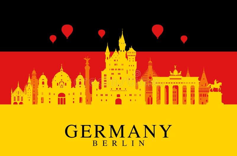 De vlag van Duitsland, de reisoriëntatiepunt van Berlijn vector illustratie